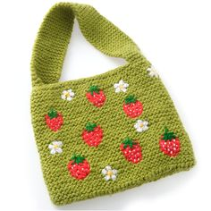 Childrens funky knitted bag with designs both sides by Woollydoodle on Folksy.