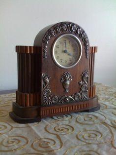 Antique clock, rosewood & silver