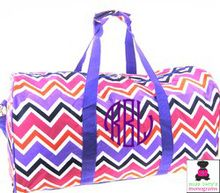 Monogrammed Large Canvas Rounded Duffle - Multi Chevron with Purple Trim