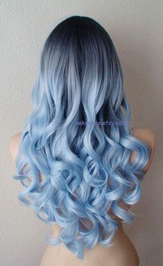 Airy blue fashion hairstyle wig for daily use or Cosplay Light blue Ombre wig. Dark roots Pastel silver blue by kekeshop Blue Ombre Wig, Blue Wig, Ombre Wigs, Dyed Hair Blue, Ombre Hair Dye, Pastel Ombre Hair, Light Blue Ombre Hair, Neon Hair, Silver Blue Hair Dye