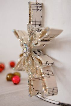 Vintage Sheet Music Snowflake Ornament 1925 by JenniferAllison