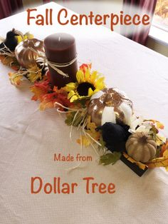 Fall Centerpiece made from Dollar Tree items an inexpensive and easy Thanksgiving centerpiece