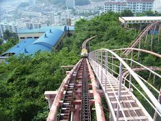 Okpo Land, Okpo-Dong, South Korea (closed in 1999).  The duck-themed rollercoaster killed a child in the late 1990s and another in 1999. Nobody of the park's leaders have apologized or said anything. The park was left in ruin in 1999 and demolished in the Fall of 2011.