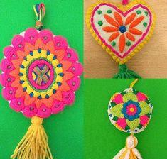 No photo description available. Hand Embroidery Flowers, Xmas Tree, Macrame, Tassels, Crochet Earrings, Felt, Beads, Cute, Crafts