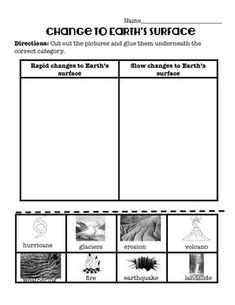 Fast and Slow Changes to the Earth's Surface Cut and Paste Activity 4th Grade Science, Science Student, Fast And Slow, Earth Surface, Cut And Paste, Worksheets, Change, Activities, Fourth Grade Science
