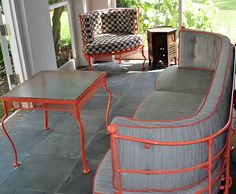 DESIGN SERVICES OF CHARLOTTE, INC.  Outdoor furniture - new cushions, new paint!  Wrought Iron brought to new life!