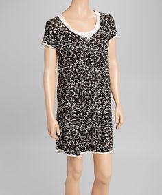 Loving this René Rofé Black & Dew Scroll Damask Short-Sleeve Nightgown - Women on #zulily! #zulilyfinds