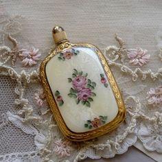 antique guilloché enamel French perfume bottle