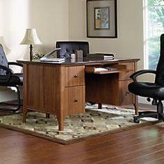 "Sauder Appleton Faux Marble Top Executive Desk, 30 23/32""H x 64 4/5""W x 29 3/5""D, Sand Pear - $399.99"