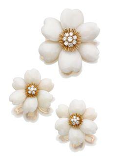 Coral and diamond demi-parure, 'Rose de Noël', Van Cleef & Arpels