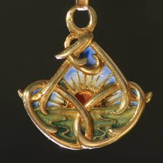 French gold art nouveau pendant with plique a jour enamel (emaille a fenetre) (ca.1900), $4412 in November 2011.