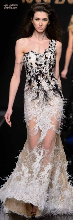 Rani Zakhem Haute Couture Spring 2015 | one-shoulder white lace dress with black feather