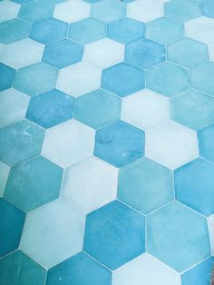Cement Tiles Blue Hexagon