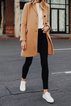 An easy outfit to recreate with your camel coat fashion jackson camel coat easy fashion jackson outfit recreate joop t shirts herren baumwolle grau joop Winter Outfits For School, Casual Winter Outfits, Winter Fashion Outfits, Simple Outfits, Fall Outfits, Winter Outfits Women, Dressy Outfits, Fashion Dresses, Casual Winter Style