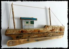 reclaimed wood fishing boat