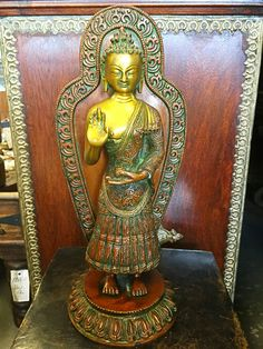 Standing Buddha Brass Statue in Blessing Posture #buddhiststatue #meditationgift  #yogadecor #buddhastatuemeditation #yogastatue