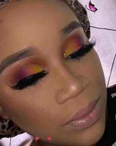Colorful Fun 💛💗💜 Colorful Fun<br> Colorful eye makeup for black women! #blackgirlmagic #blackwomensmakeup #colorfuleyemakeup #glittermakeup Black Makeup Looks, Asian Makeup Looks, Glitter Makeup Looks, Prom Makeup Looks, Simple Makeup Looks, Creative Makeup Looks, Short Hair Makeup, Red Hair Makeup, Brown Skin Makeup