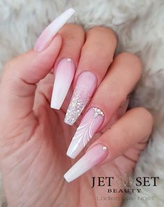 48 cute and lively pink solid color bride nails suitable for any place page 45 of 48 00151 com is part of nails - nails Glam Nails, Cute Nails, Bling Nail Art, Rhinestone Nails, Hair And Nails, My Nails, Nagel Stamping, Nagel Bling, Nagellack Design