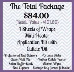 The total Package! Nail wraps for you! Get pretty nails.....you can order here: www.waughjams.jamberrynails.net