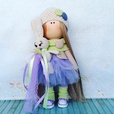 Handmade doll Tilda doll Fabric doll Interior doll Purple doll Art doll Violet doll Soft doll Cloth doll Baby doll Rag doll Nursery decor