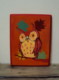 Quirky Autumn Owl Painting On Wood Block by ElizabethanFolkArt