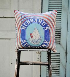Hubbards Sunshine Feedsack Pillow by Hawks and Doves on Scoutmob Shoppe // 20% off with code BOSS20