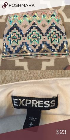 Sequined Aztec print express skirt Excellent condition Aztec print skirt size small barely worn Express Skirts Mini
