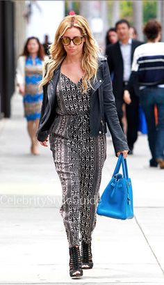Seen on Celebrity Style Guide: After Celebrating her bachelorette weekend in Miami with gal Vanessa Hudgens, Ashley went shopping in Beverly Hills  Get Her Romper: http://rstyle.me/n/jfs4kmxbn