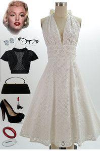 50s Style White Eyelet Lace Bombshell Pinup Marilyn Halter Sundress w Full Skirt. BOOTS!!