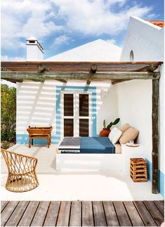 A unique summer cabin in Comporta, Portugal Outdoor Rooms, Outdoor Living, Outdoor Decor, Outdoor Bedroom, Outdoor Kitchens, Ibiza Stil, Apartment Balconies, Balcony Design, Outdoor Kitchen Design