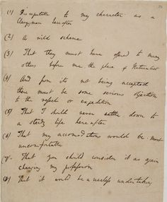 A list of objections from Charles Darwin's father's to go join the voyage of the Beagle.