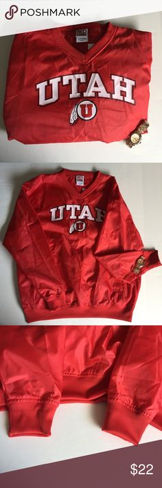 Classic University of Utah windbreak pullover Men's size: medium vintage classic University of Utah windbreaker pullover warm up jacket. Perfect if this is your alma matter or your favorite team. This too can be in your closet but only if you make an offer. No trades. red oak Sweaters V-Neck