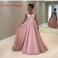 90.15$ Buy here - http://vithn.justgood.pw/vig/item.php?t=2vkijh28760 - New A-Line Prom Evening Dress Formal Tulle Pearls Appliques Party Bridal Gowns 90.15$