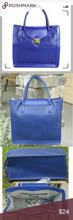 """👜 🌺 Gerald structured bag in cobalt.🍏 🌟This bag features perforation design in the front, dual top handles, a foldover flap with magnetic snap clouser, and adjustable removable shoulder strap. Bright silver tone hardware. One interior pocket, one interior zip pocket.   🌟Details: L 13"""", H ?12"""", D 5-1/2"""", faux leather.  🌟Please use only ✔OFFER 👈 button for all price negotiations. I'll do 👉🍓a price drop⤵ for you for discounted shipping, if we agree about the price. JustFab Bags"""