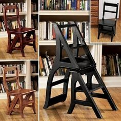 Dual Purpose   Chair That Folds Into A Step Ladder