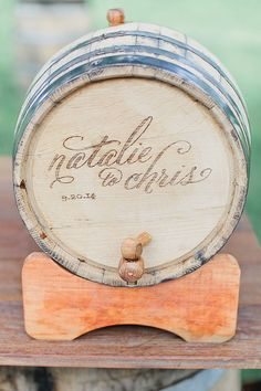 A personalized barrel of drinks | @andrewjadephoto | Brides.com