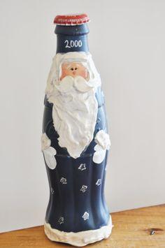 Santa Coca Cola Bottle The Y2 K 2000 Celebration Hand Painted Coca Cola Bottle Santa Christmas Decoration Lovely Collectible Christmas Deco