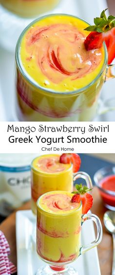 and packed with probiotics a Greek Yogurt Mango for breakfast . Healthy and packed with probiotics a Greek Yogurt Mango for breakfast Smoothie Recipes With Yogurt, Strawberry Smoothie, Yogurt Recipes, Smoothie Drinks, Fruit Smoothies, Healthy Smoothies, Healthy Drinks, Greek Yogurt Smoothies, Vegetable Smoothies