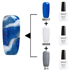 Elite99 Soak Off Changeable UV LED Gel Polish Nail Art 3PCS Multi Color Kit 10ml 88016  The White Color Gel  88009   Base Color Gel  D1  *** Check out this great product.