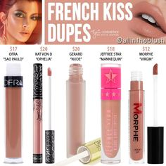 "I have another Kylie Cosmetics Liquid Lipstick dupe to share with you! The next shade up on the dupe list is ""French Kiss"", a soft. Beauty Blogs, Beauty Products, Lip Products, Beauty Tricks, Beauty Ideas, Beauty Secrets, Make Up Tutorials, Lipstick Dupes, Liquid Lipstick"