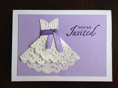 DIY Doily Wedding Dresses - shower invitation