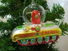 New Glass Robot Outer Space Patrol Martian Rocket Ship Christmas Ornament