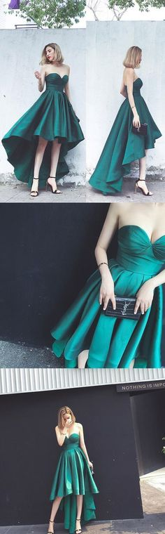Simple Hi-Lo Emerald Green Strapless Prom Party Dress,Emerald Green Evening Gowns,Prom Dress by MeetBeauty, $125.64 USD