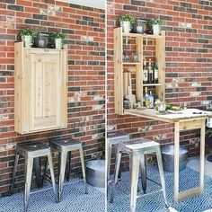 beverages Last year I designed and built this outdoor cedar Murphy bar. This is a great addition to any patio and can be used to serve up beverages or even as a grill prep station! Diy Garden Furniture, Diy Outdoor Furniture, Bar Furniture, Furniture Layout, Rustic Furniture, Antique Furniture, Diy Patio, Backyard Patio, Patio Bar