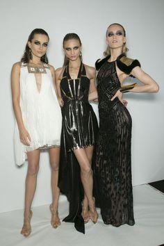 Andreea Diaconu, Anna Selezneva, and Katya Riabynikina backstage at Atelier Versace Spring 2013 Haute Couture