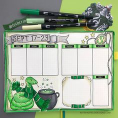 Memory keeping in my bullet journal Harry Potter themed bullet journal spread! Slytherin themed weekly bujo layout created with Tombow markers in an dot grid journal. Bullet Journal Notebook, Bullet Journal Aesthetic, Bullet Journal School, Bullet Journal Themes, Bullet Journal Spread, Bullet Journal Layout, Bullet Journal Inspiration, Journal Ideas, Harry Potter Journal