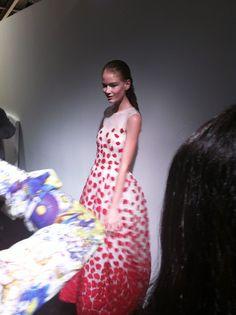 John Rocha SS14 backstage #lfw #ss14 #fashion #model #backstage Hollie May Saker
