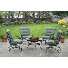 Better Homes and Gardens Seacliff 5pc Fire Pit Set, Teal - Walmart.com