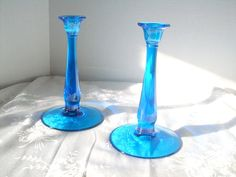 Vintage Blue Glass Candlesticks by AngelasArtistic on Etsy, $32.00