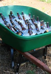 WHEEL BARREL ICE BUCKET for sodas, water, or beer! Super fun summer party ideas...  #windowswaterfront #parties #party #catering